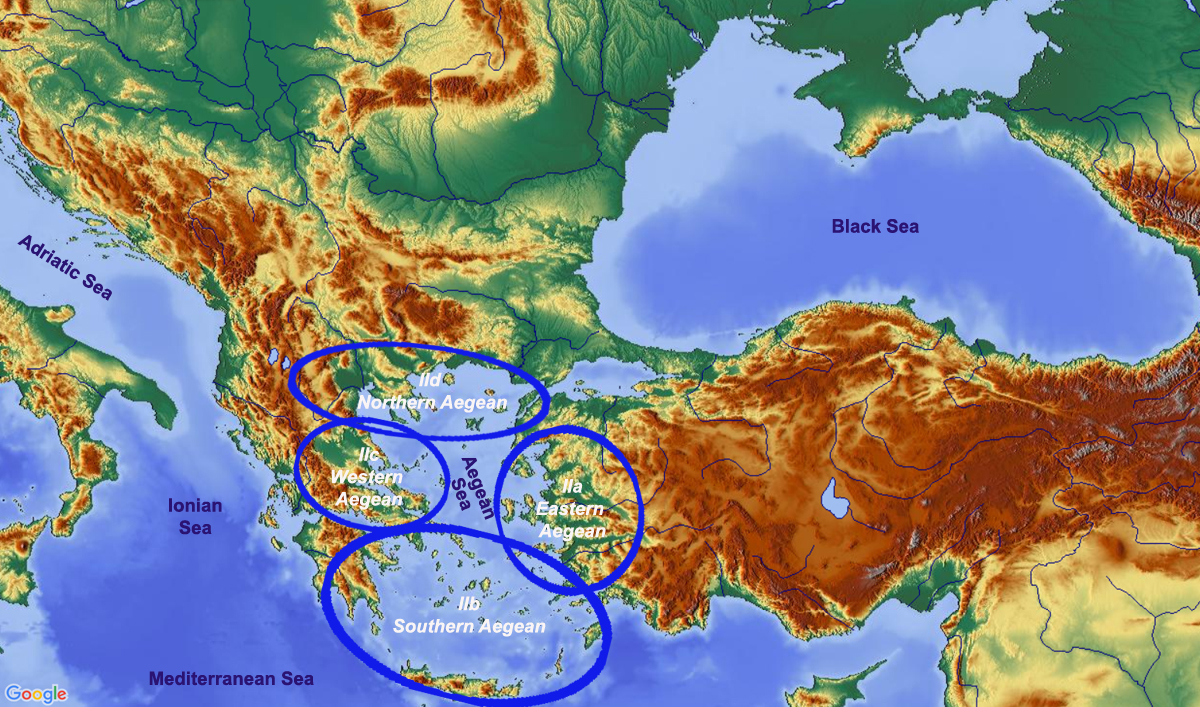 map showing subregions of region 2 The Aegean