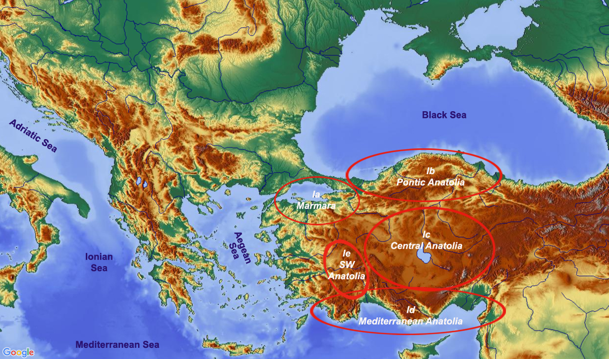 map showing subregions of region 1 Anatolia