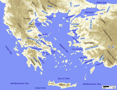 Figure 1. The circum-Aegean with main seas, mountains, gulfs and rivers