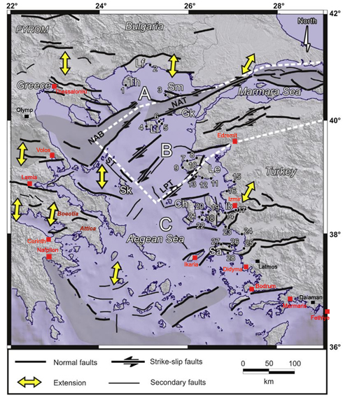 Figure 2. Fault lines in the Aegean Basin