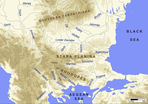 Figure 1. Geographical map of the central and eastern Balkans